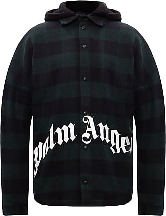 Palm Angels Hooded Shirt With Logo Mens Multicolor