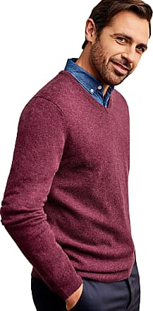 WoolOvers Mens Cashmere and Merino V Neck Jumper Raspberry Marl, M