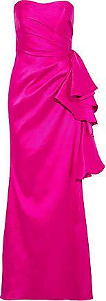 Badgley Mischka Badgley Mischka Woman Strapless Ruffled Mikado Gown Bright Pink Size 10
