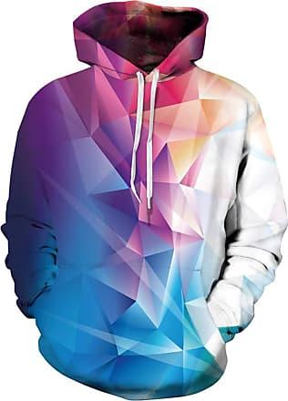 Ocean Plus Mens Hoodie 3D Graphic Hoodie with Kangaroo Pocket Hoody Sweat Hood Sweatshirts (L/XL (Chest: 114-134CM), Colorful Geometric)