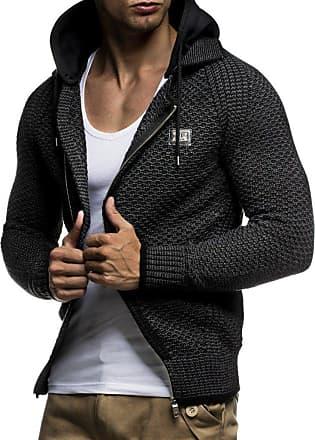 LEIF NELSON Men Cardigan Jacket Hood LN-7055 Anthracite Black XX-Large