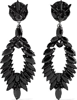 Ranjana Khan Crystal Clip Earrings - Black