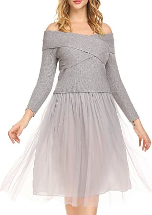 Zeagoo Womens Elegant Lady Off Shoulder Long Sleeve Patchwork Slash Neck Knit Chiffon Skater Dress Light Gray