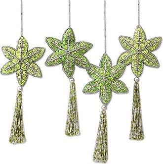 Novica HD0078 Holiday Message (Set of 4) Beaded Ornaments