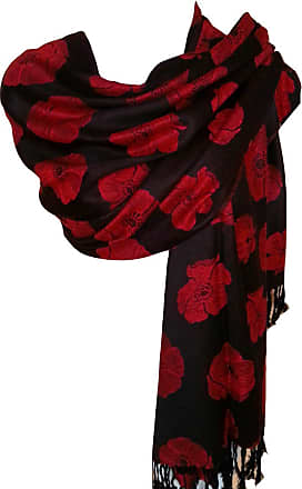GlamLondon Poppy Pashmaina Scarf, Soft Warm Viscose Pashminas Poppies Flower Womens Shawl (Black)(Size:L)