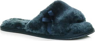 Ajvani Womens Ladies Flat peep Toe Bow Cosy Fur Lined Slip on Slippers Size 5 38 Navy