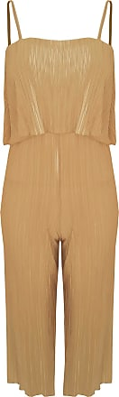 Top Fashion18 Top Fashion Ladies Plus Size Pleated Chiffon Crinkled Jumpsuit Strap Bardot Tiered Overlay Top (UK Size 14-26) Nude