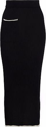 N.Peal N.peal Woman Ribbed Cashmere And Silk-blend Midi Skirt Black Size M