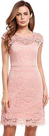 60f26e84c07ffe Meaneor Damen Elegantes Spitzen Kleid Mini Sommerkleider Etuikleid  Partykleider Abendkleid mit Spaghettiträger