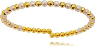 Lua Mia Semijoias Bracelete Pérolas e Bolinhas Douradas - Semijoia Folheada a Ouro Lua Mia Joias
