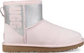 UGG Womens Classic Mini Logo Sparkle Boot in Seashell Pink, Size 4, Suede
