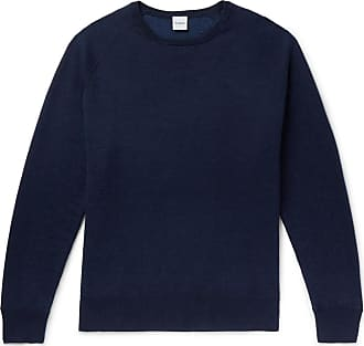 Aspesi Slim-fit Loopback Cotton, Cashmere And Wool-blend Sweater - Blue