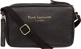 Pure Luxuries London Pure Luxuries London Laine Womens 23cm Biodegradable Leather Cross Body Bag with Zip Over Top, Unlined Central Compartment and Adjustable Webbed Canva