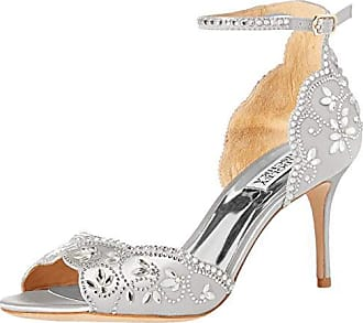 Badgley Mischka Womens VETA Heeled Sandal, Soft White Satin, 11 M US