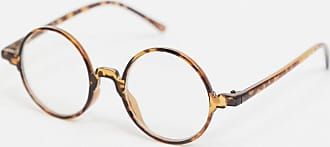 Asos round fashion glasses in tort with clear lens-Brown