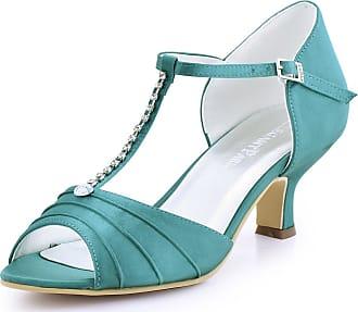 Elegantpark EL-035 Wedding Sandals for Bride Low Heel Bridal Shoes Women Peep Toe T-Strap Rhinestones Satin Bridal Party Sandals Teal UK 9(EU 42)