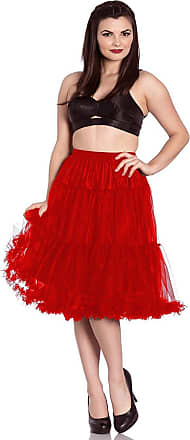 Hell Bunny Polly Long Tulle Petticoat Swing Flare Skirt 50s Rockabilly Vintage - Red ((3XL/4XL)
