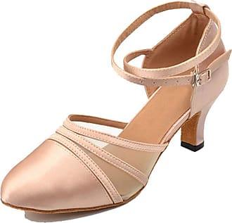 MGM-Joymod Womens Comfortable Mush Closed Toe Pumps Salsa Ballroom Rumba Samba Latin Dance Shoes (Beige 6cm) 6 M UK