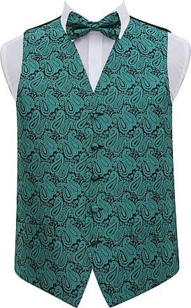 DQT Men Paisley Floral Wedding Waistcoat Bow Tie and Hanky Teal 38
