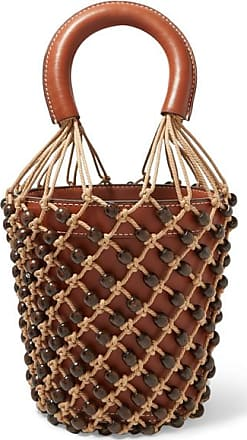 Staud Moreau Leather And Beaded Macramé Bucket Bag - Tan