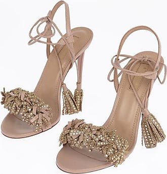 Aquazzura 11cm Leather WILD CRYSTAL Leather Sandals with Tassels Größe 36,5