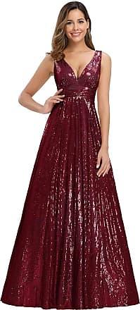 Ever-pretty Womens Double V Neck Empire Waist Floor Length A Line Sequin Long Evening Party Dresses Burgundy 22UK