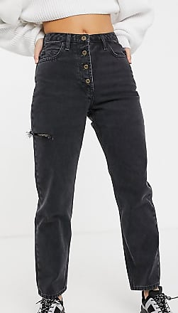 Collusion x005 straight leg jeans with thigh split in washed black-Blue