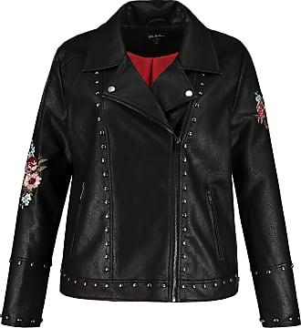Ulla Popken Womens Große Größen Lederjacke Mit Blütenstickerei Leather Jacket, Black (Black 72708810), 50
