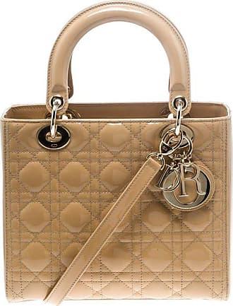 7d991217c9e9 Dior Dior Light Brown Patent Leather Medium Lady Dior Tote