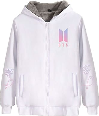 EmilyLe Ladies Thicken Hoodies with Zipper Kpop BTS New Album Jacket Suga V (XXS, White)