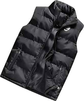 NPRADLA Mens Fashion Autumn Winter Casual Stand Collar Party Coats Jacket Printing Zipper Vest Comfortable Jacket Top Coat Black