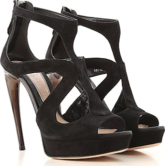 Alexander McQueen Sandals for Women On Sale in Outlet, Black, Suede leather, 2017, 10 6 6.5 8