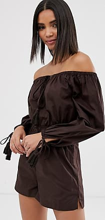Warehouse bardot playsuit in chocolate-Red