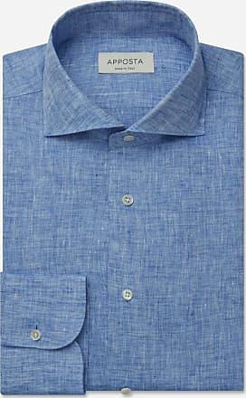 Apposta Camicia tinta unita blu lino tela lino normandia, collo stile francese punte corte