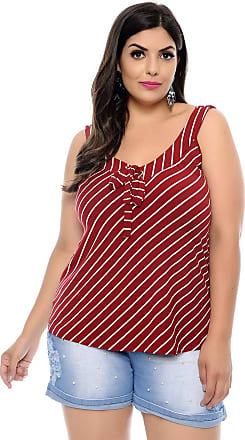 COSMA Blusa Regata Plus Size Vermelha Listras e Laços-48
