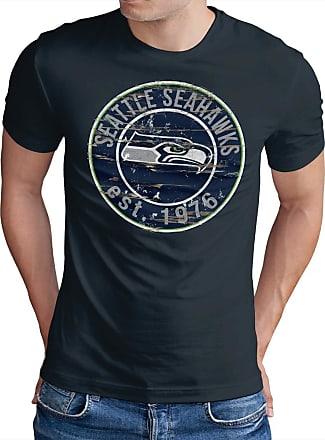 OM3 Seattle-Badge - T-Shirt | Mens | American Football Shirt | XL, Navy