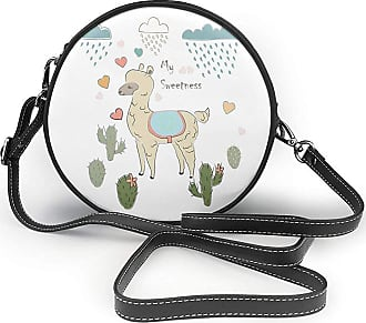 Turfed PU Round Shoulder Bag Llama Cute Abstract Alpaca in The Rain with Cactuses Brush Strokes Effect Illustration Purse Single