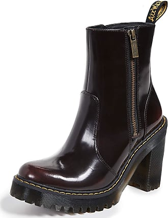 Dr. Martens Womens Magdalena II Arcadia Shiny Cherry Red Block Heel Boots - Cherry Red - 5