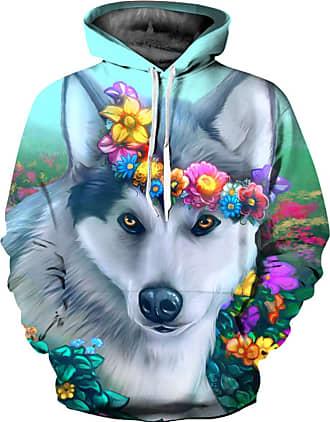 Ocean Plus Mens 3D Funny Hoodie Long Sleeve Multicolor Unisex Hoodie Streetwear Sporty Sweatshirt with Drawstring (XXL/3XL (Chest: 126-146CM), Wreath Husky)