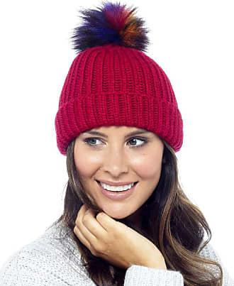 Foxbury Ladies Rib Knit Hat with Multicoloured Bobble Red