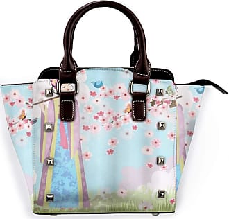 Browncin Music Oriental Girl Near Cherry Blossoms Spring Petals Butterfly Grassland Japan Design Print Detachable Fashion Trend Ladies Handbag Shoulder Bag Mes