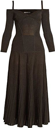 21cc3217597ee Alexander McQueen Alexander Mcqueen - Cut Out Shoulder Wool Blend Dress -  Womens - Black