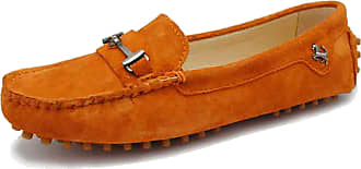 Minitoo MNITOO Driving Shoes Womens Comfortable Orange Suede Slip-on Loafers with Metallic Stripe UK 2.5