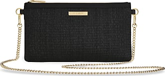 Katie Loxton Freya Womens Woven Straw Convertible Crossbody Clutch Black