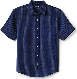 Lands End Leinenhemd mit kurzen Ärmeln für Herren in Tall-Größe, Classic Fit - Blau - 56-58 von Lands End