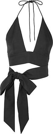 Kalita Plato Cropped Cotton-poplin Halterneck Top - Black