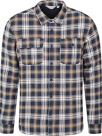 Mountain Warehouse Stream Mens Flannel Lined Checked Shirt with Two Chest Pockets - 100% Cotton - Casual, Warm and Comfortable, Ideal for Walking, The Outdoors and Every