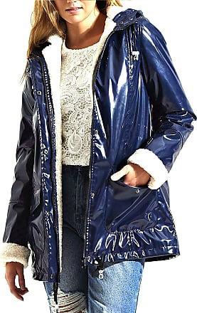 Shelikes Womens Metallic Look Gloss Faux Fur Lined Waterproof Rain Mac_40JKT10060_TaniaMac_NVY_10 Navy