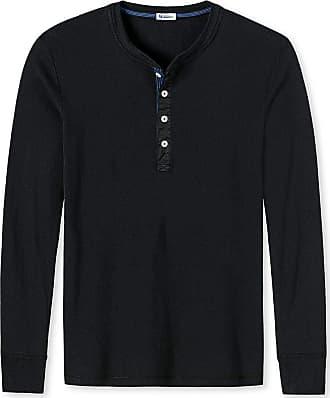 Schiesser Revival Mens Shirt, 1/1 Sleeve, Long Sleeve Undershirt, Karl Heinz - Black: : XX-Large