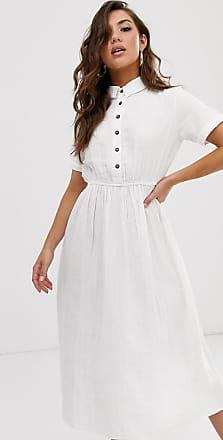 NA-KD Na-kd - Lichte katoenen midi-jurk met polohals in wit